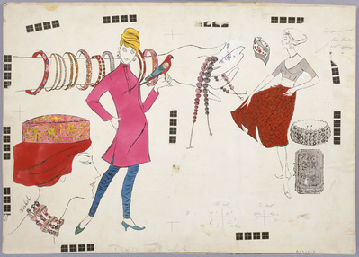 Three Female Figures and Fashion, c.1960