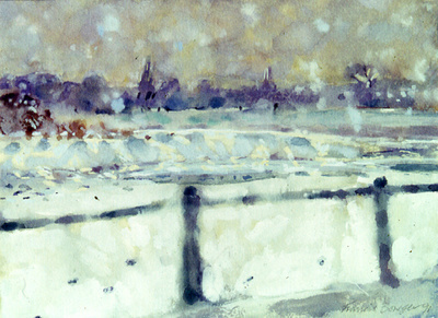 Chiswick Eyot under Snow, 1995