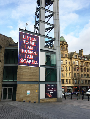 Listen to me. I am human. I am scared, 2017 By Mark Titchner