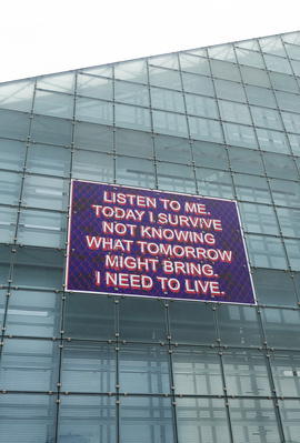 Listen to me. Today I survive not knowing what tomorrow migh... By Mark Titchner