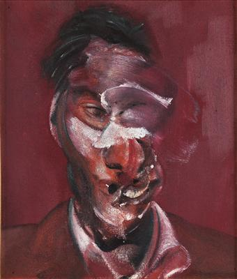 Three Studies for Portrait of Lucian Freud, 1965 (centre pan... By Francis Bacon
