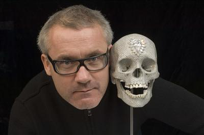 Portrait of Damien Hirst with For the Love of God, 2007