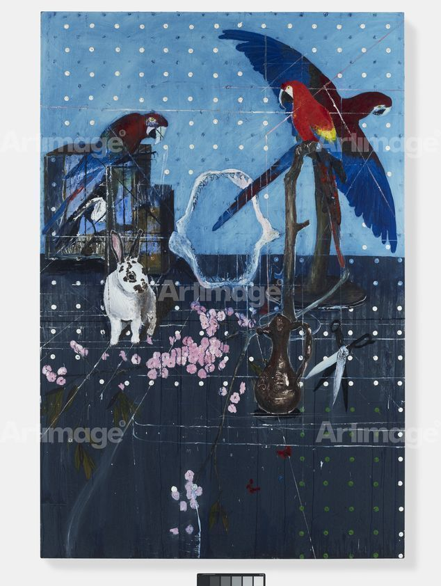 Enlarged version of Three Parrots with Rabbit and Scissors, 2010