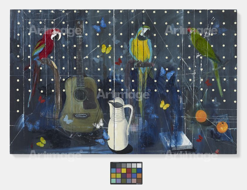 Enlarged version of Three Parrots with Guitar and Jug, 2010-2012