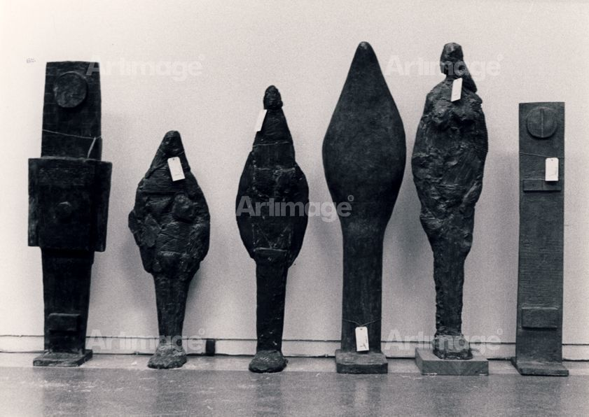 Enlarged version of Tate retrospective, 1973 (including Totemic Figure, 1957; Female Figure, 1955; Idol 1, 1955; Idol 4, 1956; Standing Female Figure, 1955 and Screwhead, 1957)