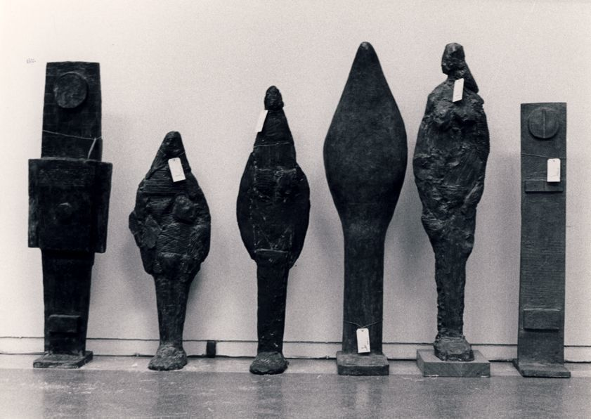 Tate retrospective, 1973 (including Totemic Figure, 1957; Female Figure, 1955; Idol 1, 1955; Idol 4, 1956; Standing Female Figure, 1955 and Screwhead, 1957)