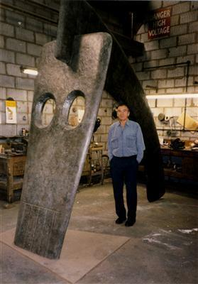 William Turnbull with Horse Sculpture