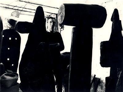 William Turnbull with Sculptures, 1959