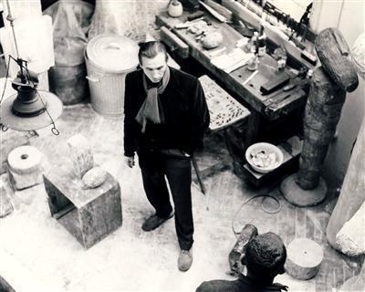 William Turnbull in his Studio