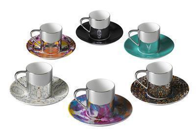 Box Set of 6 - Mixed anamorphic cup and saucer, 2012
