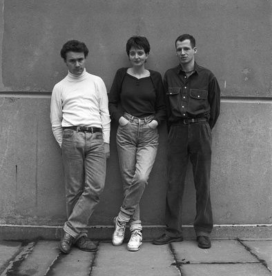 Damien Hirst, Billee Sellman and Carl Freedman, January 1990